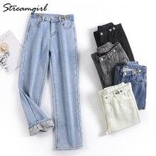 Leg-Jeans Vintage Pants Velvet High-Waist Straight Women with Fleece Gray Denim for Wide