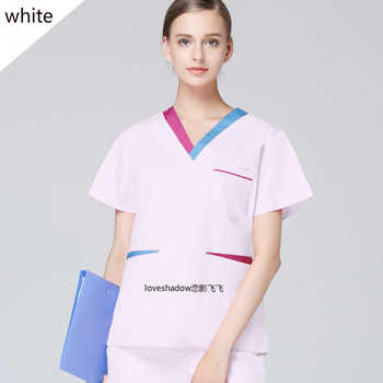 NEW Style Women Uniform Color Blocking Scrub Top Cotton Short Scrub Top Summer Doctor Nurse Spa Beautician Workwear (just A Top) - DISCOUNT ITEM  40 OFF Novelty & Special Use