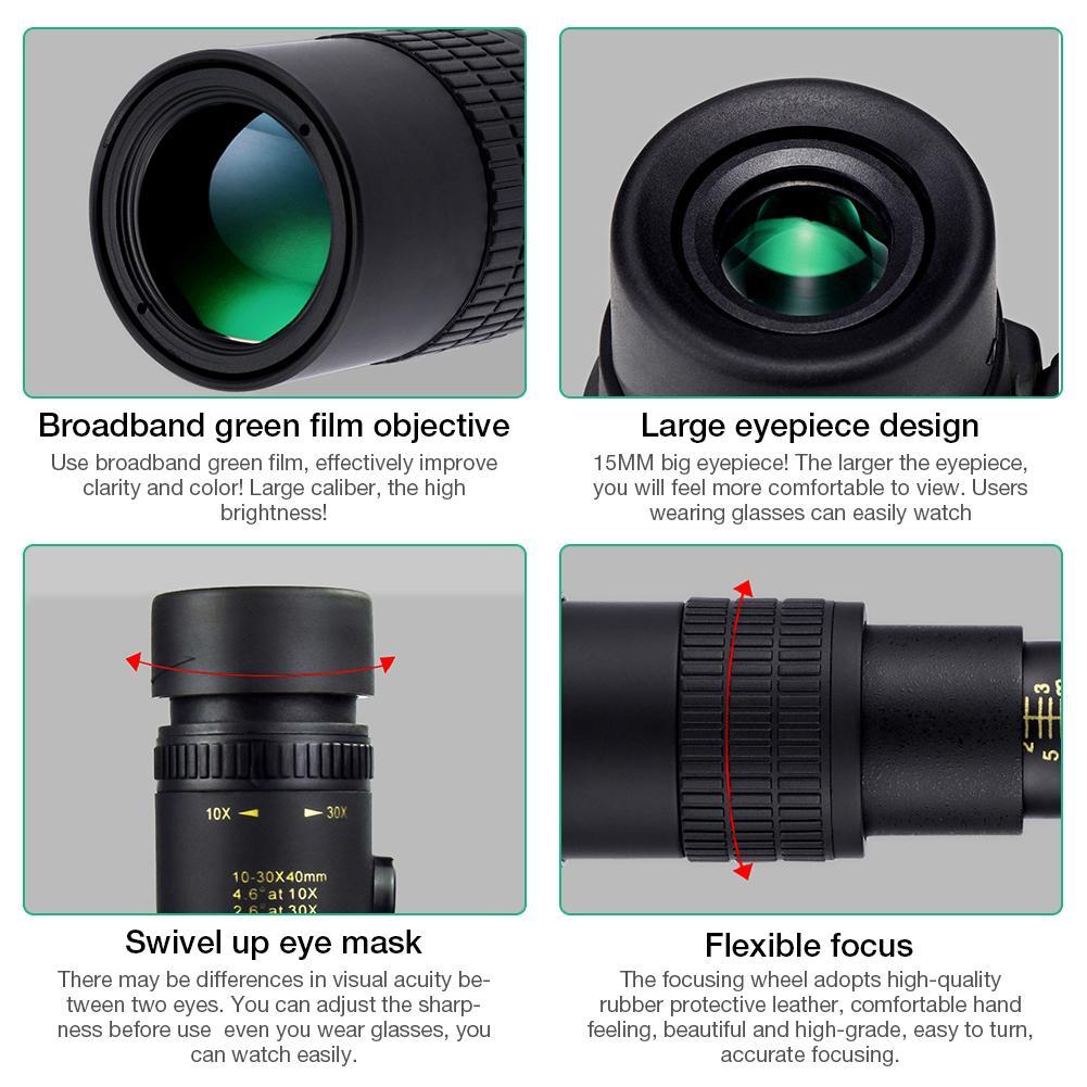 Camera Lens - 4K 10-300X40MM Super Telephoto Zoom Monocular Telescope Waterproof for Smart Phones Bird Watching/ Hunting/ Camping