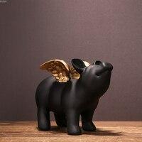 13x18cm Nordic Decorative Ornaments Small Flying Pig Piggy Bank Resin Ornaments Home Living Room Decoration Piggy Money Box