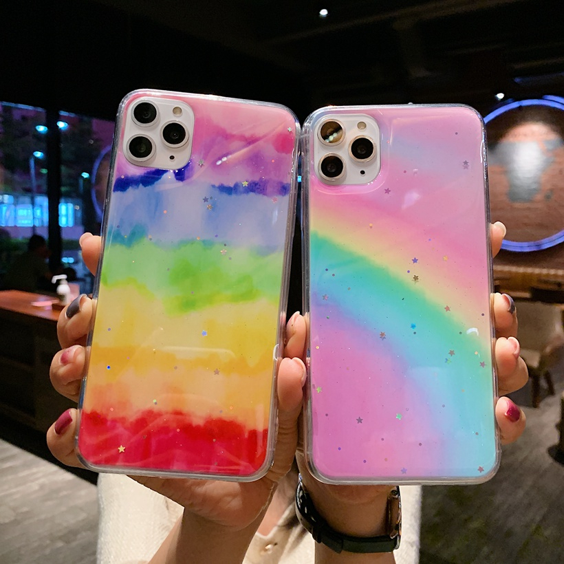Rainbow Star Bling Glitter Phone Case For Samsung Galaxy S20 Plus Ultra A50 A70 A51 A71 A20 A30 Colorful Soft Silicon Cover Capa