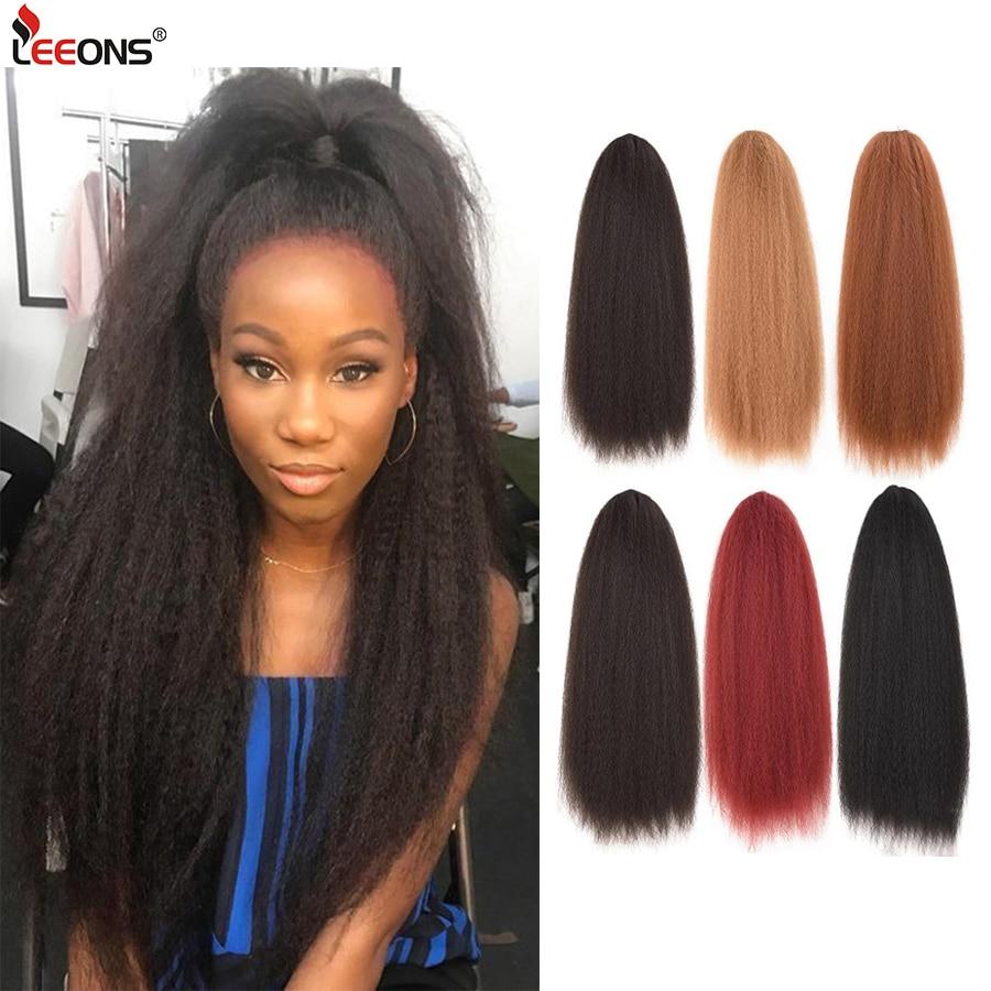 Clip de extensión de pelo de cola de caballo sintético negro marrón de Leeons en cola de caballo rizado Afro Puff rizado pelo de cola de caballo
