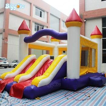 Stoczni PVC nadmuchiwane podwójny slajdów bounce dom zestaw zamek na sprzedaż