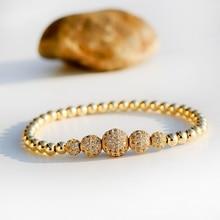 gunmetal color charm bracelet pave rhinstone bracelet amazonite beads bracelet for women natural stone for women Luxury Gold Color Pave CZ Ball Charm Bracelet Men Women Elastic Copper Beads Jewelry Gift For Men Women