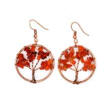 цена на 7 Chakra Quartz Natural Stone Tree of Life Pendulum Pendant Earrings for Women Healing Crystal Earring Pendants Reiki Jewelry