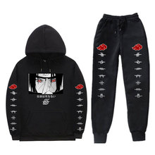Anime Tracksuit Hoodie Hooded-Sweatshirt Drawstring-Pants Akatsuki Men's-Sets Uchiha-Itachi