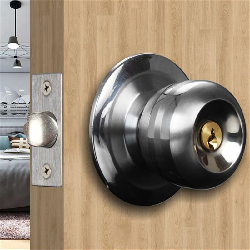 Home Door Locks Round Ball Privacy Door Knob Set Bathroom Handle Lock With Key For Home Door Hardware Accessories