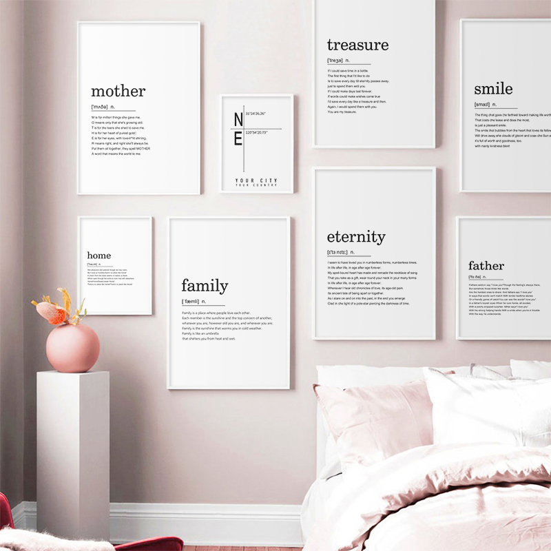 Home Family Smile Definition Quotes Nordic Posters And Prints Wall Art Canvas Painting Wall Pictures For Living Room Decor