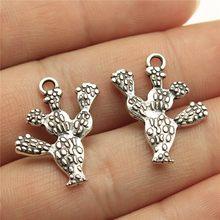 WYSIWYG 10 sztuk kaktus wisiorek Charms DIY tworzenia biżuterii biżuteria znalezienie antyczne srebro kolor 23x20mm