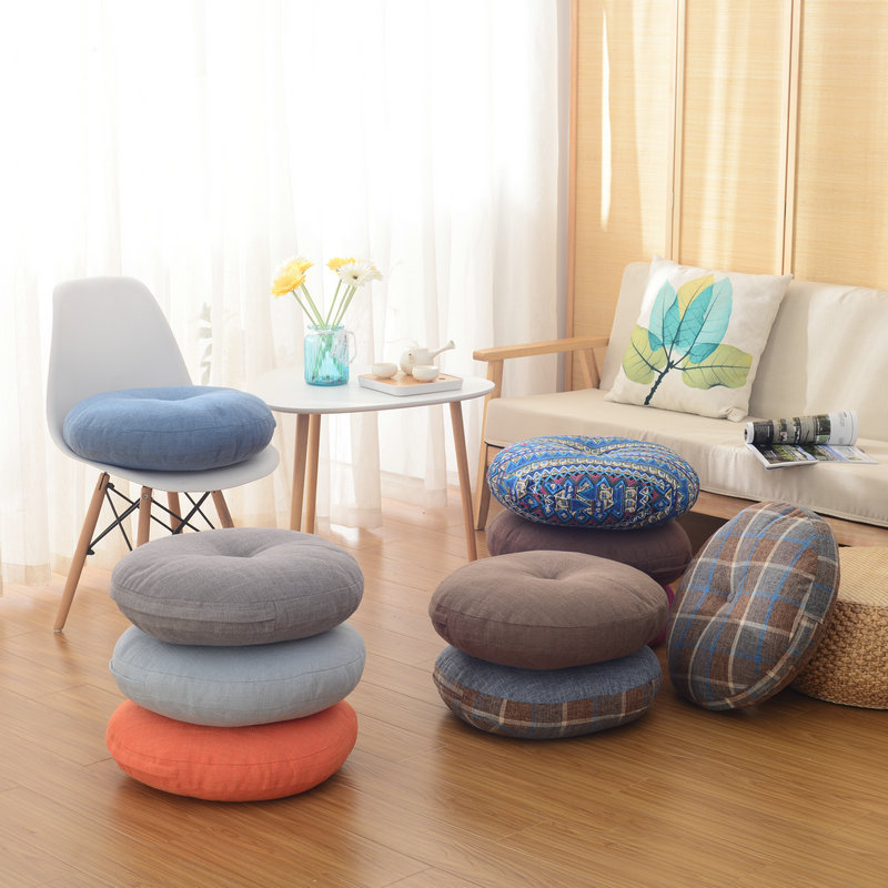 Simanfei Floor Pillow Pad Pouf Futon Tatami Sofa Seat Cushion Round Chair Cushion Travel Throw Pillow Decorative Sitting Pillow