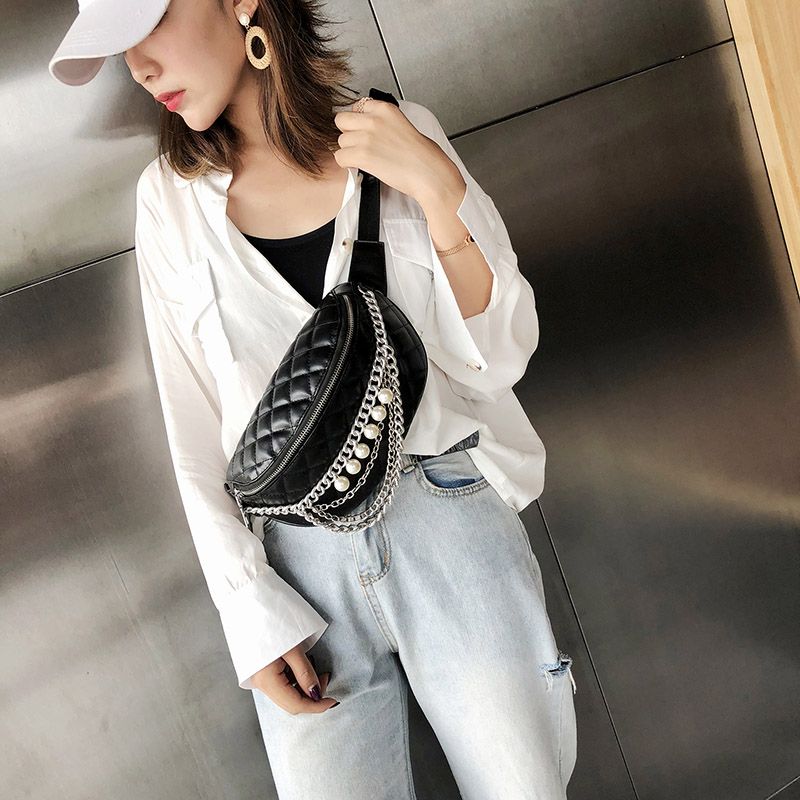 Women's Lingge Waist Bag Female Pearl Chain Fanny Pack PU Leather Belt Bags Luxury Shoulder Messenger Chest Bags Banana Hip Bag