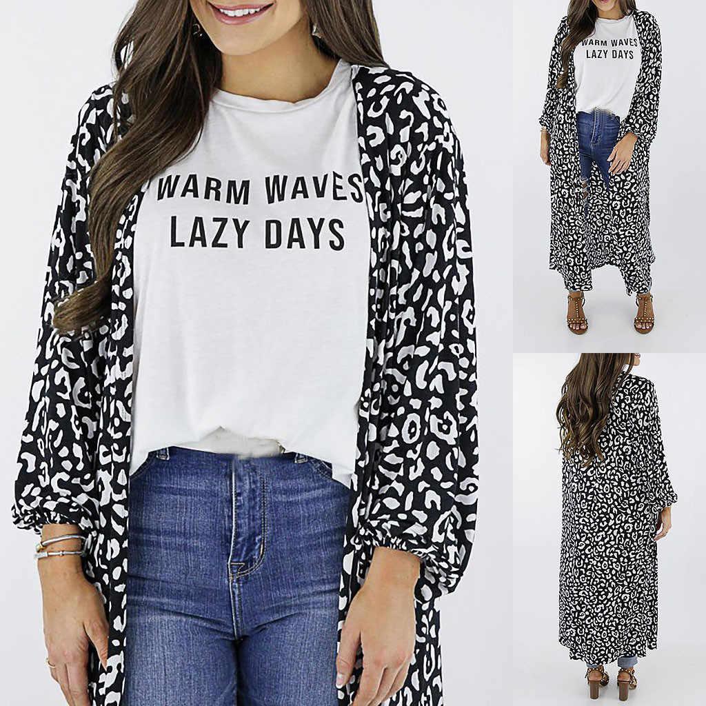בתוספת גודל נשים שיפון מודפס מקרית ארוך קימונו קרדיגן ארוך שרוולים קיץ חוף כיסוי חולצה למעלה blusas mujer דה moda 2019