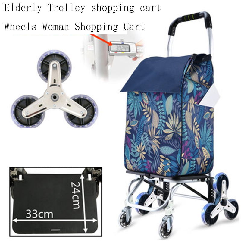 Elderly Trolley Shopping Cart 6 Wheels Woman Shopping Cart For Stairs Shopping Basket Trailer Portable Cart Large Shopping Bags