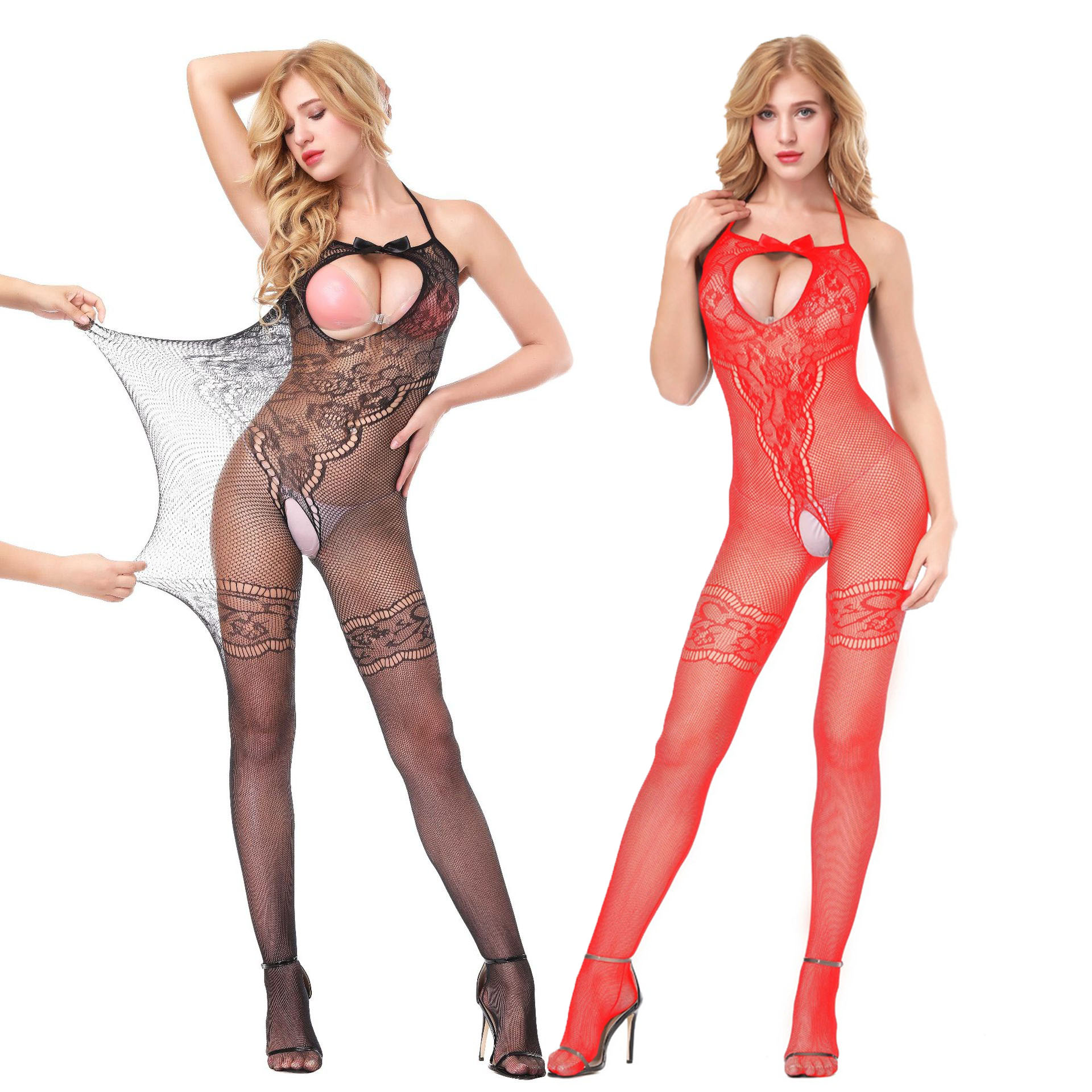 Plus size fishnet <font><b>bodystocking</b></font> fantasy fat <font><b>sexy</b></font> <font><b>lingerie</b></font> erotic open Cup Crotchless bodysuits for women sleeve mesh <font><b>tight</b></font> appeal image
