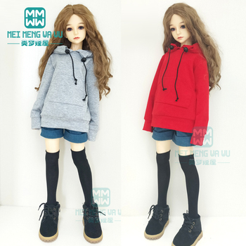 BJD doll clothes for 1/3 BJD SD doll fashion black hooded sweater + denim shorts 1 3 zak bjd sd doll makeup doll free