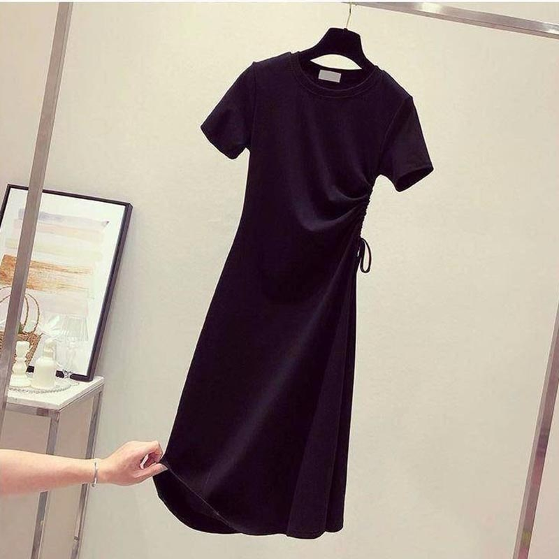 T-shirt Dress New Women A-line Casual Solid Dress Fashion Long Skirt Short Sleeves V-Neck Office Lady Chic Dress AA185