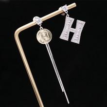 Korean 2019 new tassels asymmetric zircon letters eardrop S925 silver needle set personality simple fashion earrings
