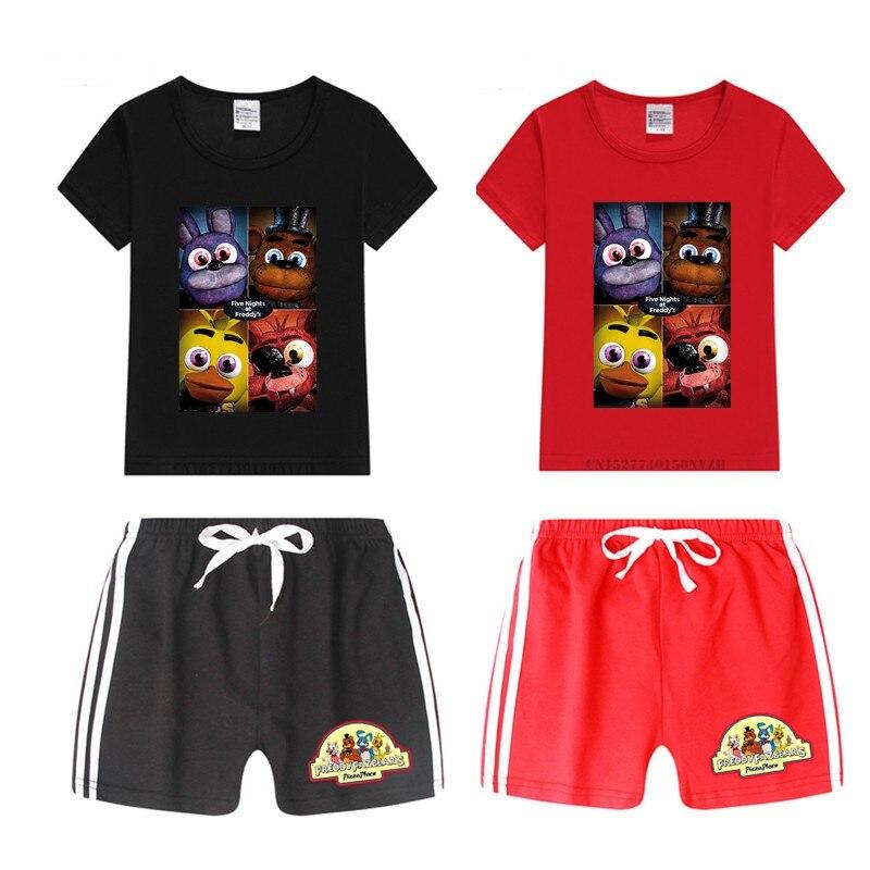 Boy And Girl Five Nights At Freddy T Shirt Kid's Shorts Set Children Tops+Pants Outfits Set Cat Clothing Sets,Drop Ship