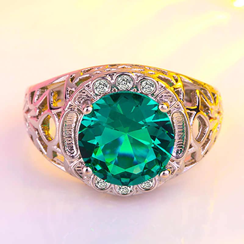 الكلاسيكية الأخضر حجر الإناث جميلة خاتم الخطوبة تشيكوسلوفاكيا الزفاف الأخضر كبير الزركون انقطاع خاتم CZ مجوهرات فسيفساء الإناث