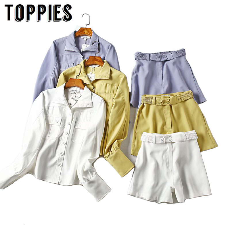 Leisure White Two Piece Set Women Long Sleeve Lapel Shirts High Waist Shorts Korean Ladies Set