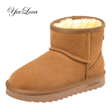 Classic Women Fur Snow Boots Winter Warm Ladies Ankle Boots Slip On Cute Australia Flat Boots Suede Cow Real Leather Short Boots 2018 australia style women genuine sheep leather and real fur boots winter women snow boots two diamond bows winter boots
