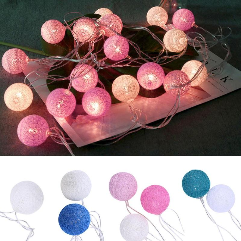 20 LEDs Cotton Ball String Lights Outdoor Decoration Fairy Lights Valentine Wedding Holiday Garland Christmas Globe Lighting