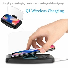 10W 5W Wireless Charging Charger Car GPS HUD Head Up Navigation Display Phone Holder Anti Slip Mat for IPhone Huawei Samsung