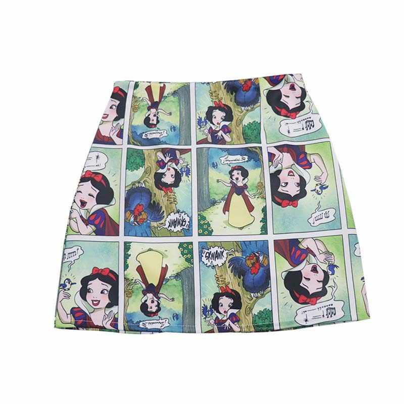 Gótico dos desenhos animados bonito impressão em quadrinhos saia 2019 verão uma linha curto streetwear ulzzang saias das mulheres gonne donna estive faldas cortes
