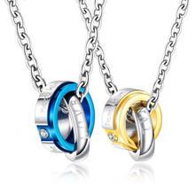 Ожерелье с двойным кольцом из нержавеющей стали кулон для влюбленных