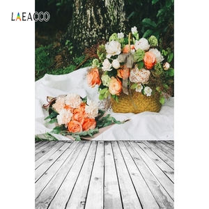 Image 3 - Laeacco Faded Flowers Wall Wooden Floor Vintage Portrait Photography Backdrops Vinyl Photo Backgrounds Baby Birthday Photocall
