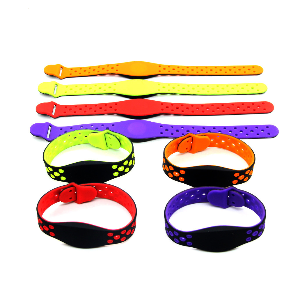 1Pcs 13.56MHz 1K S50  Purple Green Red Read Only Waterproof Silica Gel Wristband Keyfob Tag RFID Access Control Card