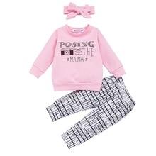 3PCS Newborn Baby Girl Cute Letter Print T-Shirt Sweatshirt+Striped Long Legging Pants+Headband Casual Spring Outfits Set D20