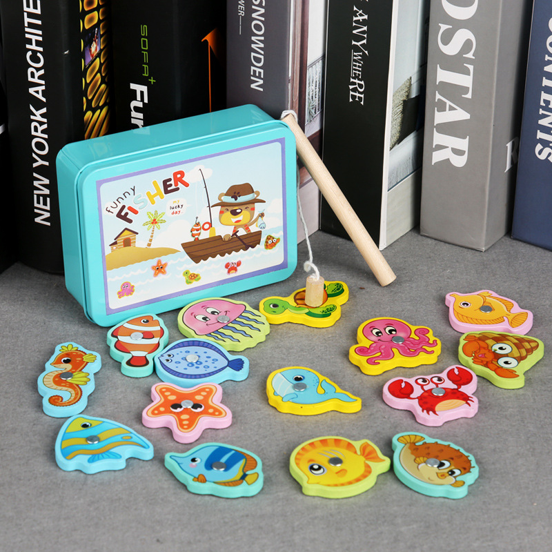 Iron Box Magnetic Fishing 15PCS Fish Wood Toys For Children Animal Nature Pretend Play Fishing Game Magnetic Early Education Toy