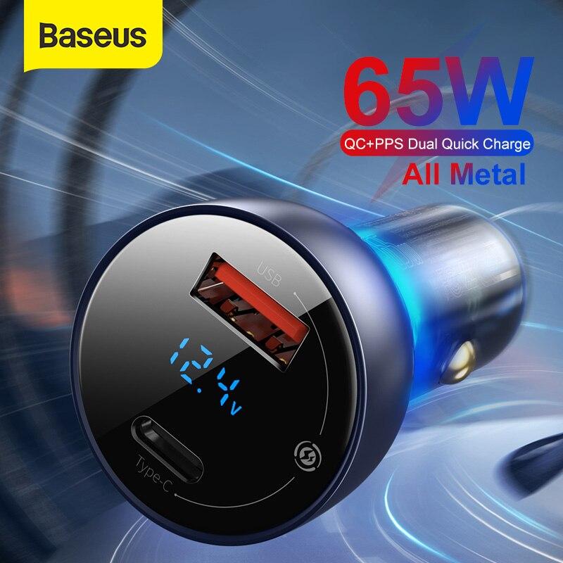 Baseus 65W PPS araç şarj cihazı PD QC çift hızlı şarj Laptop için saydam Metal iPhone için araç telefonu şarj cihazı samsung