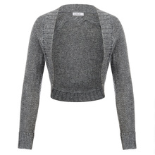 Women Button Knitwear coat soft Long Sleeve Open Front bolero Cropped jacket office OL slim tops Sweater Cardigan coat shrug