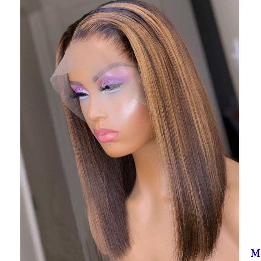 Highlight Blonde Colored Silk Straight 13×4 Lace Human Hair Wig For Women Fake Scalp Wig Remy With Baby Hair