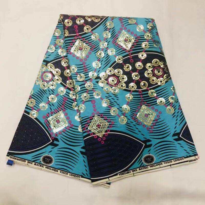 High Quality African Super Java Wax Fabric With Sequin Embroidery Super Africa Wax Fabrics 6 Yards Ankara Nigerian Cotton Fabric