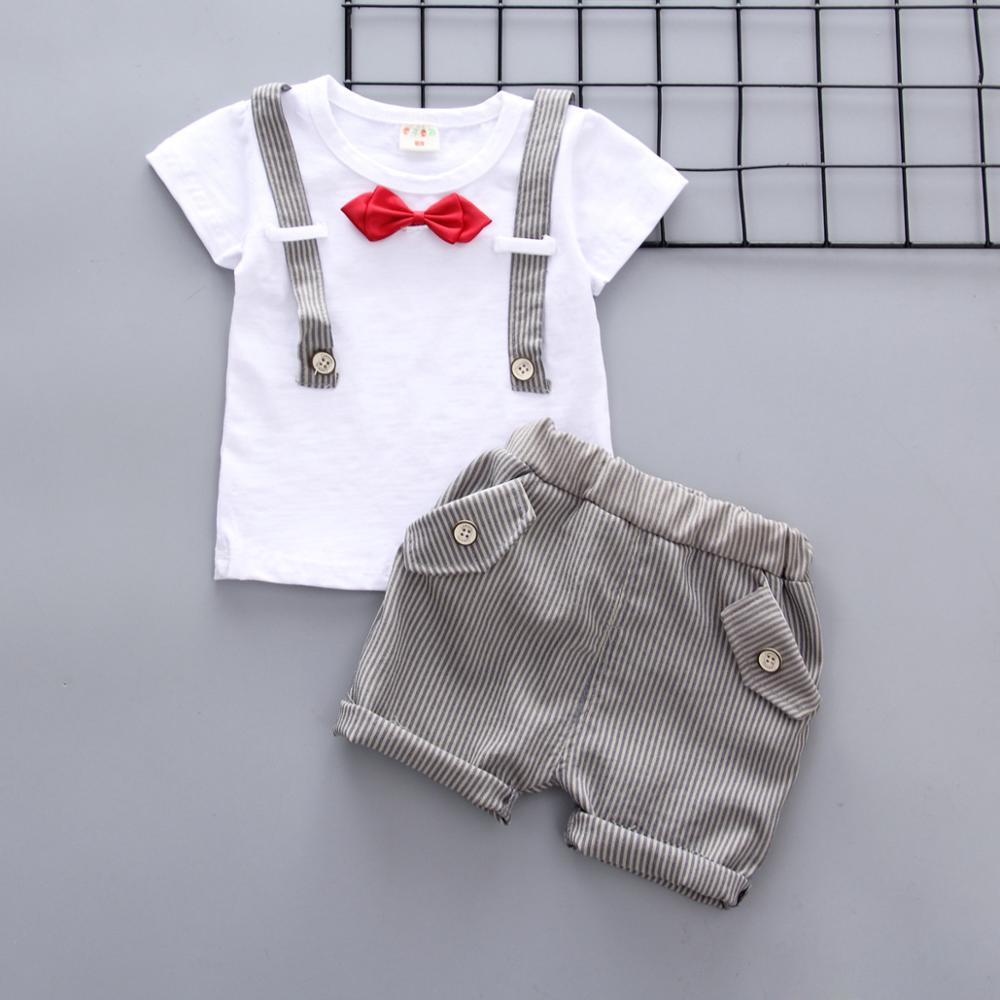 Summer Kids Boys Clothes Sets Baby Bow Casual Gentleman Short T Shirt + Pants 2pcs Baby Boy Clothing