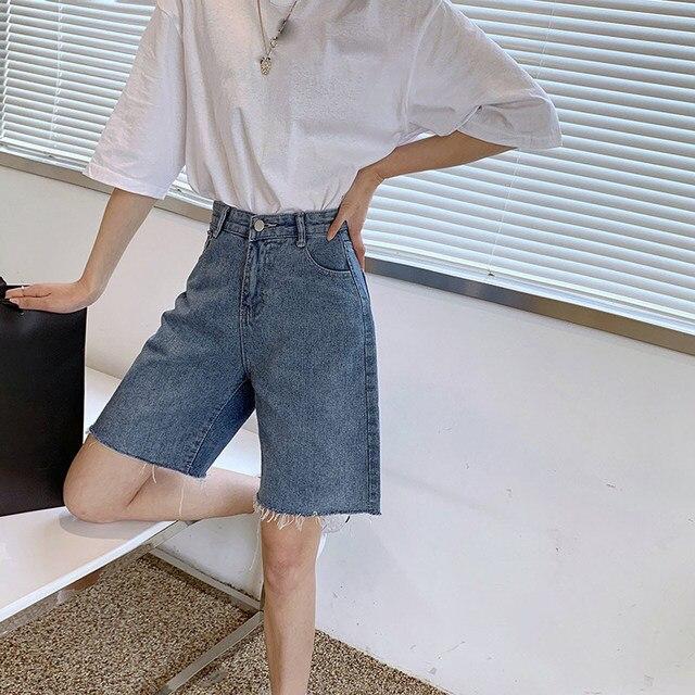 High Waist Slim Denim Shorts Bermuda Plus Size Woman New Fashion Tassel Tight Five-point Denim Shorts Washed Sexy Female Summer 3