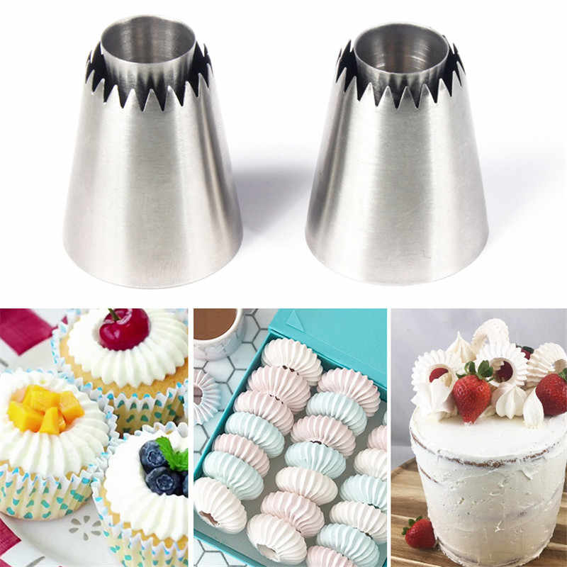 2 dimensioni FAI DA TE Ugello In Acciaio Inox Da Dessert Cake Decorating Tips Accessori Da Cucina Cookie Bis Icing Piping Crema Pasticcera Bag Strumento