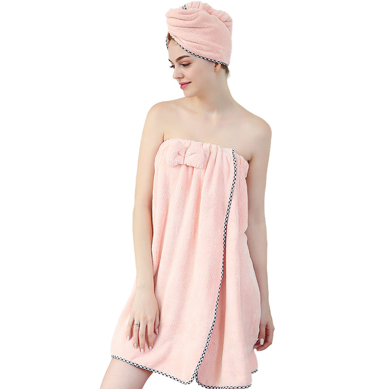 SINSNAN Women Bathroom Microfiber Soft Thick Bath Towel Bath Robe Dry Hair Towel Set Super Absorbent Wearable Shower Beach Towel