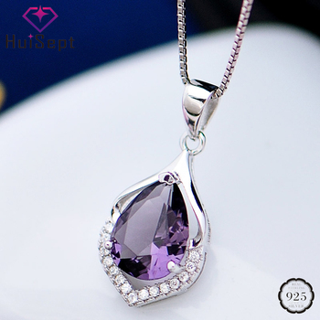 цена на HuiSept Fashion 925 Silver Necklace Water Drop Shape Amethyst Zircon Gemstones Pendant Jewellery for Female Wedding Party Gifts