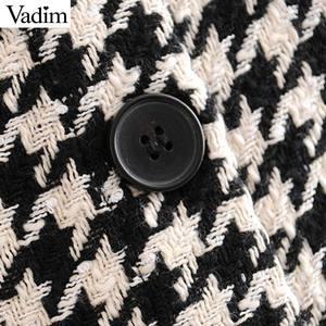 Image 4 - Vadim women elegant tweed houndstooth plaid midi skirt bow tie belt button decorate office wear chic mid calf skirts BA844