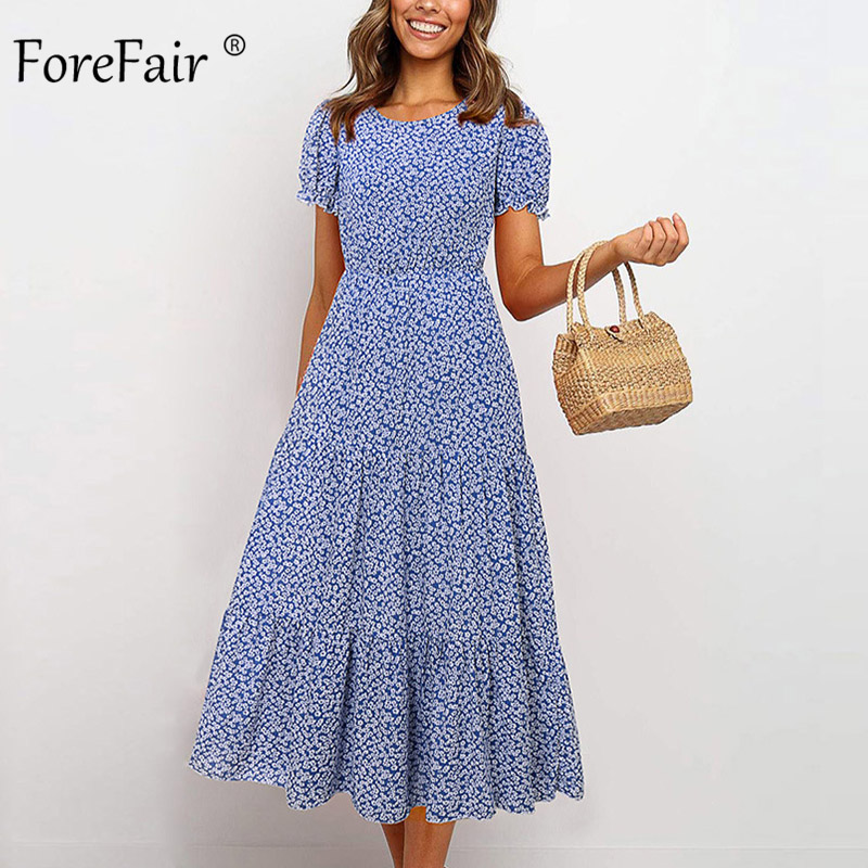 Forefair Floral Printed Beach Dress Summer Casual Tunic Midi Puff Sleeve Vintage Ruffle New 2020 Women Party Dress