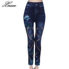 Xnxee Women High Waist  Jeans Retro Floral Print Pencil Pants Female Sexy Hollow Out Trousers Stretch Leggings 5XL