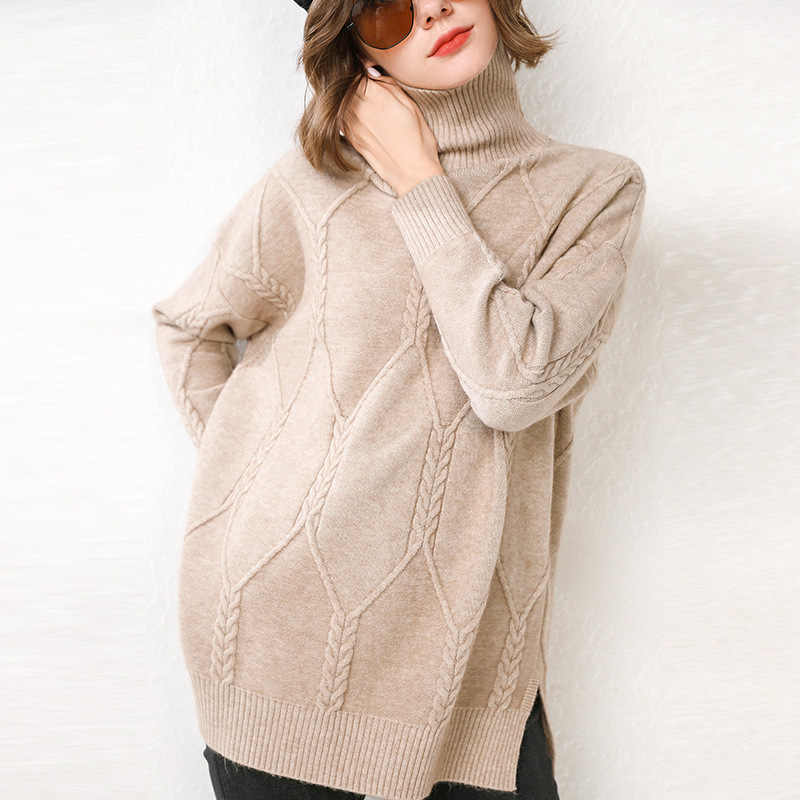 2019 New Long Fall/Winter Sweater Women's High Neck Cashmere Thickening Sweater Korean Knitted Wool Sweater Loose