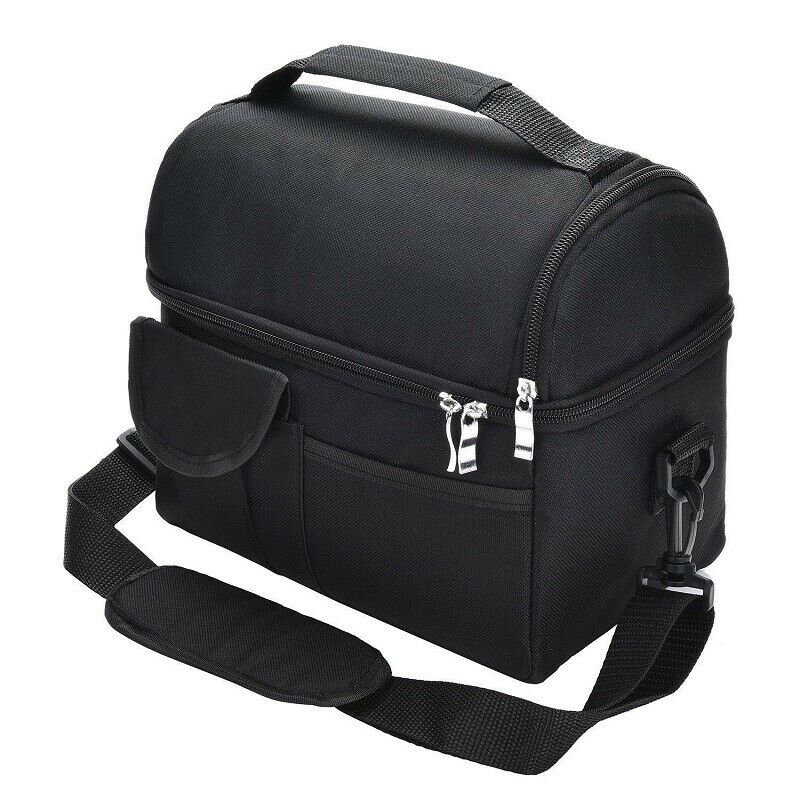 New Insulated Lunch Bag Box Cooler for Men Women Heavy Duty Oxford Nylon-Black image