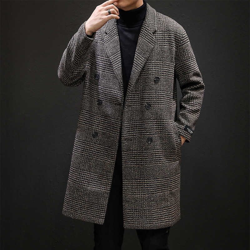 צמר ארוך מעיל גברים יפני אופנה משובץ ארוך תעלת מעיל גברים אופנה כיס קישוט טור כפתורים כפול ארוך צמר רוח מעיל