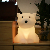 Nordic Home Decoration Children Room Polar Bear Lamp Bedroom Bedside Lamp Plug cartoon Light With Sleeping Light