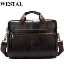 Westal мужской портфель/натуральная кожа сумка мессенджер Мужская